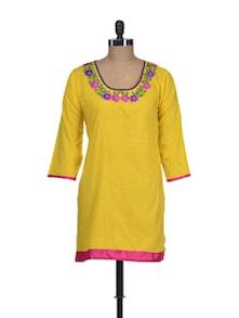 Bright Yellow Kurti With Embroidered Neckline - NEE