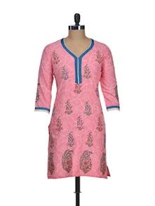 Floral Pink Cotton Kurti - NEE