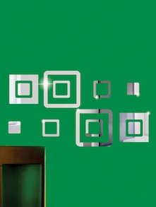 Scattered Squares 3D Mirror Sticker - Zeeshaan