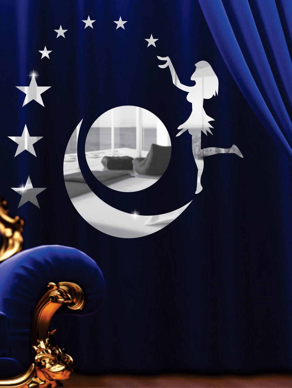 Moon And Angel 3D Mirror Sticker - Zeeshaan