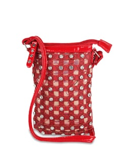 Red Designer Sling Bag With Diamonte Studs - ALESSIA