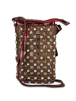 Brown Designer Sling Bag With Diamonte Studs - ALESSIA