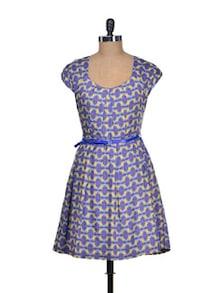 Printed Panache Blue Dress - Mishka
