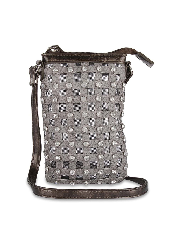 Grey Designer Sling Bag With Diamonte Studs - ALESSIA