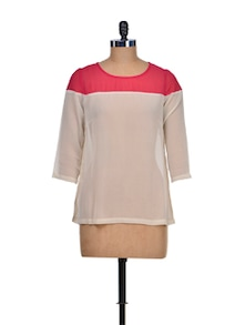 Red & White Colorblocked Top - KAXIAA