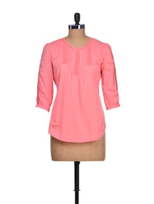 Elegant Pink Lace Tunic - KAXIAA