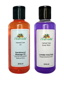 Sandalwood Massage Oil & Lavender Ylang Ylang Body Wash - Pack Of 2 - IYurveda