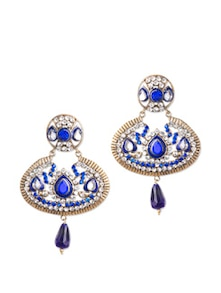 Blue Stone Studded Earrings - Bazarvilla