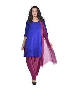 Cotton Salwar And Dupatta Set In Maroon - jaipurkurti.com