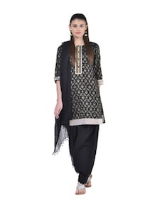 Essential Black Cotton Salwar And Dupatta - Jaipurkurti.com
