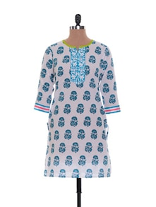 Printed Playful Cotton Kurta - Jaipurkurti.com