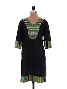 Bravo Black Cotton Kurta - Jaipurkurti.com