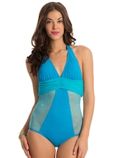 blue side lace one-piece swimsuit