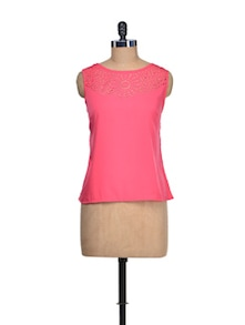 Fuchsia Lace Yoke Top - QUEST