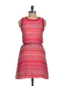 Chic Print Dress In Raving Red - QUEST