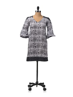 Warli And Polka Print A-line Dress - RIGOGLIOSO