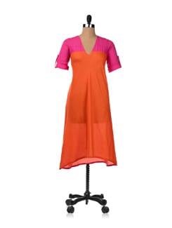 Long Trapeze Dress With Epaulet Sleeves - RIGOGLIOSO