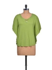 Green Top With Batwing Sleeves - Purplicious