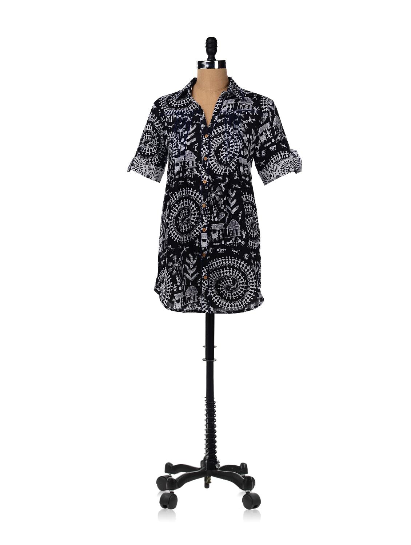 Flared Shirt Dress With Warli Print - RIGOGLIOSO