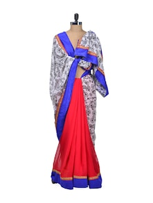 Stylish Red Cycle Print Saree - Indie Cotton Route