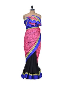 Neon Pink Cycle Print Saree - Indie Cotton Route