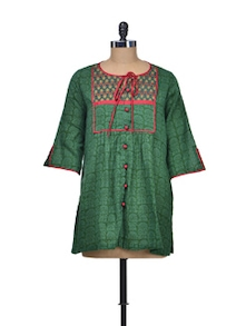 Green Printed Cotton Tunic - Indie Cotton Route