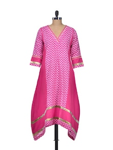 Pink Printed Long Cotton Kurta - Indie Cotton Route