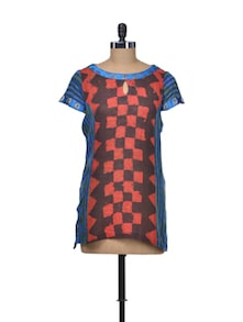 Blue & Red Jute Cotton Top - Indie Cotton Route