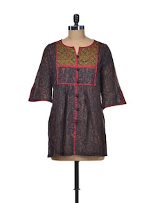 Black Dabu Short Tunic - Indie Cotton Route