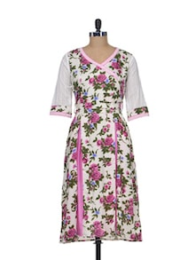 Elegant White & Pink Floral Dress - Indie Cotton Route