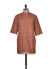 Brown & Peach Cotton Dabu Short Tunic - Indie Cotton Route