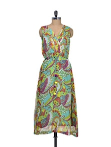Multicolored Chiffon Wrapped Front Dress - Indie Cotton Route