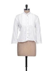 Stylish White Lace Top - Qils