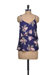 Strappy Floral Top With Front Ruffle - Besiva