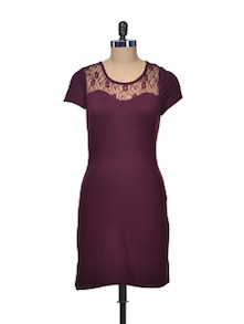 Fitted Maroon Dress With Delicate Lace Yoke - Besiva