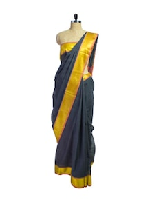 Black & Yellow Jacquard Border Saree - Spatika Sarees