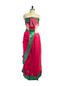Red & Green Jacquard Border Saree - Spatika Sarees