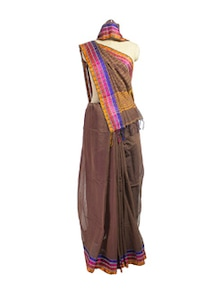 Brown Cotton Saree With Jacquard Border - Spatika Sarees