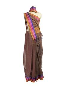 Brown Cotton Saree With Jacquard Border - Spatika Sarees