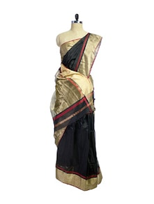 Elegant Black Saree With Golden Pallu - Spatika Sarees