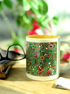 Ceramic Mug In Green With Cracker Print - Springflies Design
