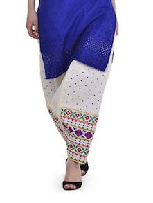 Elegant Off-White Phulkari Patiala Salwar - Home Of Impression