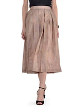 Brown Pleated Midi Skirt - By