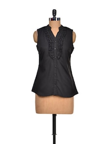 Black Beauty Ruffled Top - Meira