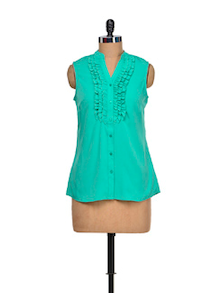 Gorgeous Green Ruffled Top - Meira
