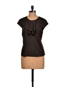 Bold Brown Ruffled Top - Meira