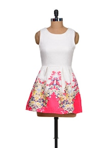White & Pink Floral Mini Dress - Sanchey