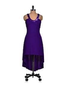 Purple Asymmetric Backless Dress - Sanchey