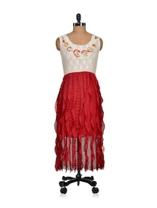 Stylish Red & White Lace Dress - Sanchey