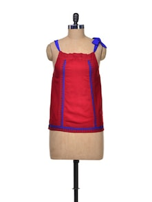 Stylish Red & Blue Knotted Top - Tieka
